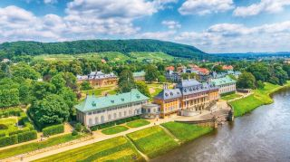 Aerial view of Pillnitz Castle, Germany
