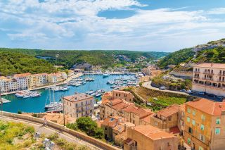 A view of Bonifacio port and old town, Corsica island, France
