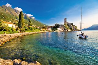Town of Malcesine castle and waterfront view