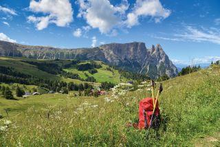 Seiser Alm in Südtirol mit Berg Schlern