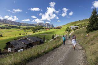 Wanderin auf der Seiser Alm in Südtirol, Italien