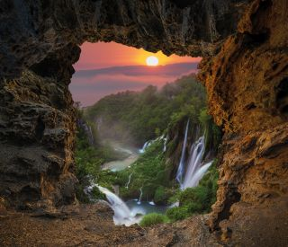 Waterfall in the Plitvice Lakes National Park seen from a natura